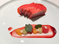 The dish of Dong po pork, water melon & galangal at Restaurant Tim Raue, Berlin, Germany. Photo Sydney Low
