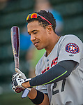 20 August 2015: Tri-City ValleyCats infielder Dexture McCall awaits the start of play against the Vermont Lake Monsters at Centennial Field in Burlington, Vermont. The Stedler Division-leading ValleyCats defeated the Lake Monsters 5-2 in NY Penn League action. Mandatory Credit: Ed Wolfstein Photo *** RAW Image File Available ****