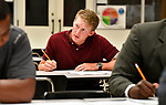 Brian Perez of south St. Louis county pauses during an assessment test at a Diversity Fair sponsored by the St. Louis County branch of the Ethical Society of Police. The fair was held at Hazelwood Central High School on Saturday August 11, 2018 with police agencies from ten different jurisdictions represented.   Photo by Tim Vizer