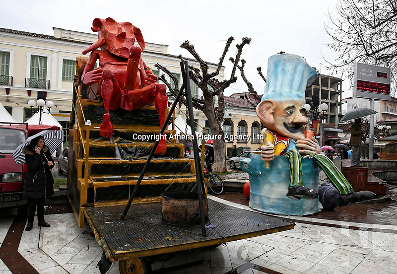 Pictured: Penis-themed parade floats in Tirnavos, central Greece. 19 February 2018<br /> Re: Bourani (or Burani) the infamous annual carnival which dates to 1898 which takes place on the day of (Clean Monday), the first days of Lent in Tirnavos, central Greece, in which men hold phallus shaped objects as scepters in their hands.