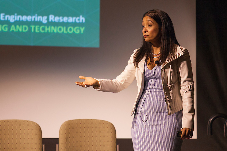 "Dr. Gerardine Botte gives her ""Pee to Power"" lecture in Baker Ballroom. Photo by Kaitlin Owens"