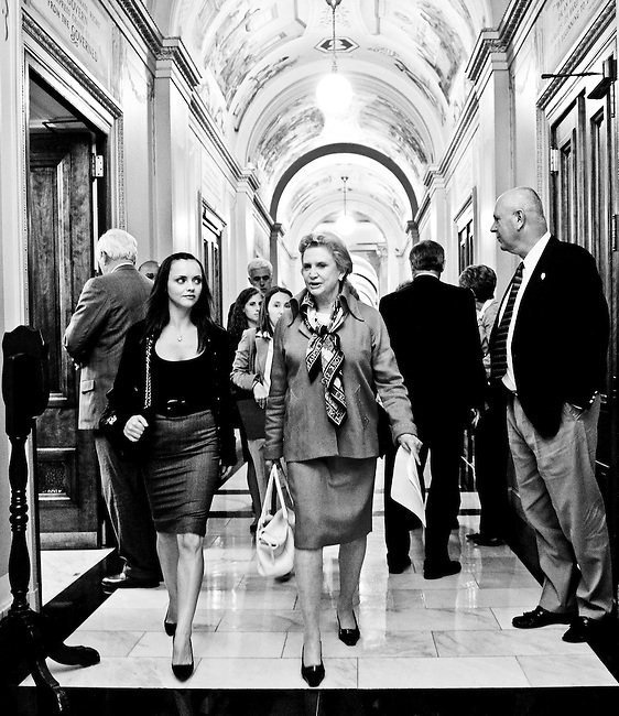 Actress Christina Ricci, left, talks with Rep. Carolyn Maloney, D-N.Y., as they walk from Maloney's office in Rayburn to the members' dining room in the Capitol on Sept. 9, 2009. Ricci, who is the national spokesperson for RAINN, an anti-sexual assault organization, was on Capitol Hill speaking to members of Congress to stress the importance of including funds for victims of sexual violence in the health care reform legislation.
