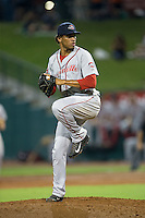 Greenville Drive relief pitcher Edwar Garcia (35) in action against the Greensboro Grasshoppers at NewBridge Bank Park on August 17, 2015 in Greensboro, North Carolina.  The Drive defeated the Grasshoppers 5-4 in 13 innings.  (Brian Westerholt/Four Seam Images)