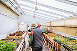 "ENCINITAS, CALIFORNIA - FEBRUARY 26: Daron ""Farmer D"" Joffe, Director Of Agricultural Innovation And Development at Leichtag Foundation & Farmer D Consulting hugs Joaquin Herschman, biodynamic nurseryman in a greenhouse at the Leichtag Foundation Farm in Encinitas, California."