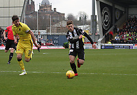 Cammy Smith getting away from Declan Gallagher in the St Mirren v Livingston Scottish Professional Football League Ladbrokes Championship match played at the Paisley 2021 Stadium, Paisley on 14.4.18.