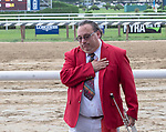 "Sam ""The Bugler"" Grossman  is honored  by NYRA at Saratoga Race Course, Sep. 3, 2018.    On closing day of the Saratoga meet  the retirement of Grossman  is celebrated after 25 years of service.  (Bruce Dudek/Eclipse Sportswire)"