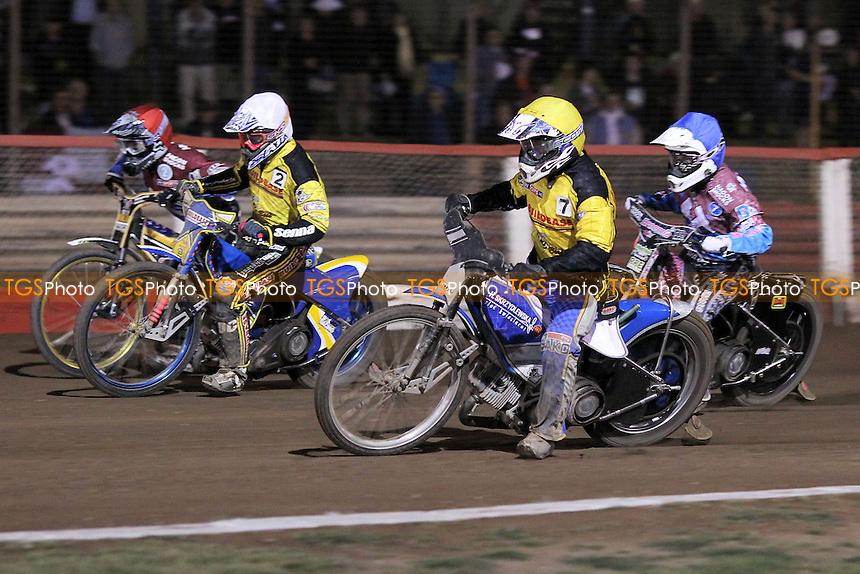 Heat 8: Kim Nilsson (red), Rob Mear (blue), Aaron Summers (white) and Michal Szczepaniak - Lakeside Hammers vs Coventry Bees - Sky Sports Elite League Speedway at Arena Essex Raceway, Purfleet - 10/09/12 - MANDATORY CREDIT: Gavin Ellis/TGSPHOTO - Self billing applies where appropriate - 0845 094 6026 - contact@tgsphoto.co.uk - NO UNPAID USE.