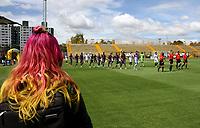 BOGOTA - COLOMBIA - 23 - 09 - 2017:Ingreso al campo de juego del estadio de Techo de los equipos Tigres FC y La Equidad ,  durante partido entre Tigres y Equidad,  por la fecha 13 de la Liga Aguila II-2017, jugado en el estadio Metropolitano de Techo de la ciudad de Bogota. / arrival to the field of play of the Stadium of Tigers FC and La Equidadduring a match between Tigres and Equidad, for the  date 13nd of the Liga Aguila II-2017 at the Metropolitano de Techo Stadium in Bogota city, Photo: VizzorImage  /Felipe Caicedo / Staff.