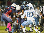 Lawndale, CA 10/14/16 - Antonio Haygood (Leuzinger #2), Tyler Jackson (Leuzinger #74), Brayden Deocampo (North Torrance #23) and \n42\ in action during the North Torrance vs Leuzinger CIF League football game.