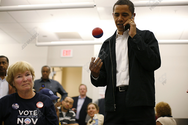 Democratic Presidential candidate Barack Obama visits campaign headquarters, and makes calls to voters, the day before the election, Charlotte, North Carolina, November 3, 2008.