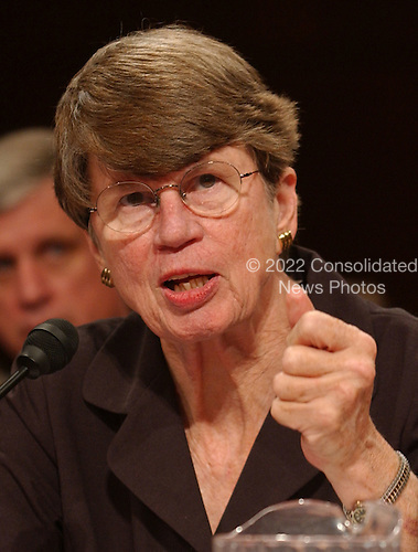 Washington, D.C. - April 13, 2004 --  Former Attorney General Janet Reno testifies before the National Commission on Terrorist Attacks Upon the United States (the 9-11 Commission) in Washington, DC on April 13, 2004.<br /> Credit: Ron Sachs / CNP<br /> [RESTRICTION: No New York Metro or other Newspapers within a 75 mile radius of New York City]