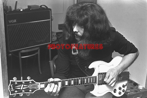 Black Sabbath 1970 Tony Iommi at Regents Sounds during Paranoid sessions<br /> &copy; Chris Walter