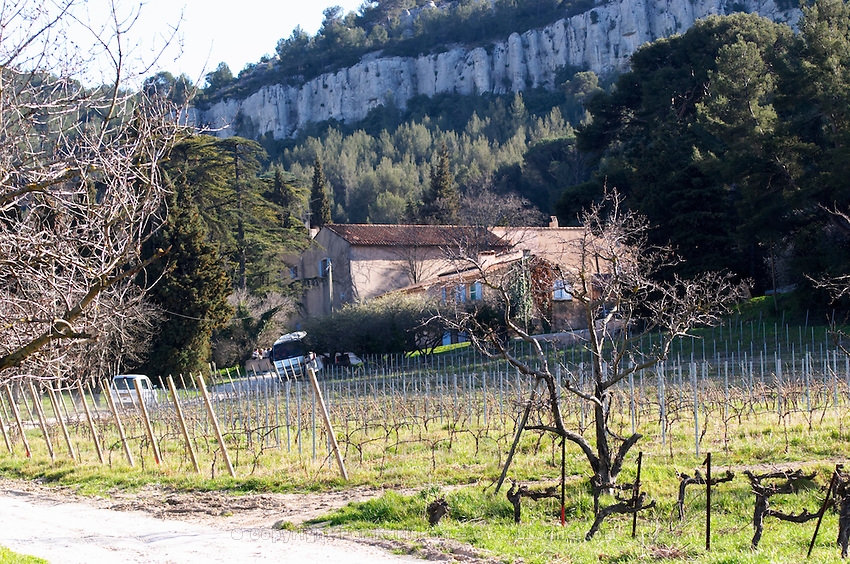 The winery and vineyard in winter Château Barbanau and Clos Val-Bruyere Cassis Cote d'Azur Var France