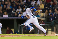 AFL West third baseman Vladimir Guerrero Jr. (27), of the Surprise Saguaros and Toronto Blue Jays organization, hustles down the first base line during the Arizona Fall League Fall Stars game at Surprise Stadium on November 3, 2018 in Surprise, Arizona. The AFL West defeated the AFL East 7-6 . (Zachary Lucy/Four Seam Images)
