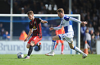 Blackburn Rovers' Richard Smallwood battles with Bristol Rovers' Chris Lines<br /> <br /> Photographer Ashley Crowden/CameraSport<br /> <br /> The EFL Sky Bet League One - Bristol Rovers v Blackburn Rovers - Saturday 14th April 2018 - Memorial Stadium - Bristol<br /> <br /> World Copyright &copy; 2018 CameraSport. All rights reserved. 43 Linden Ave. Countesthorpe. Leicester. England. LE8 5PG - Tel: +44 (0) 116 277 4147 - admin@camerasport.com - www.camerasport.com
