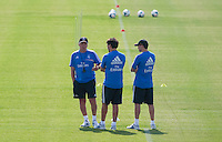 Coach, Carlo Ancelotti, speaks with his assistants during Real Madrid´s first training session of 2013-14 seson. July 15, 2013. (ALTERPHOTOS/Victor Blanco) ©NortePhoto