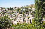 View of historic Moorish buildings in the Albaicin district of Granada, Spain seen from the Alhambra
