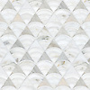 Lucet, a waterjet and hand-cut mosaic, shown in honed Angora, honed Afyon White, and tumbled Thassos, is part of the Bright Young Things collection by New Ravenna.