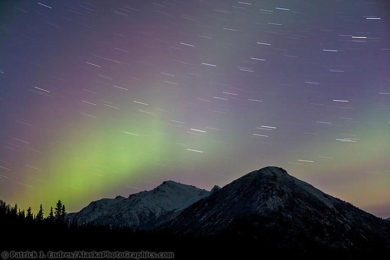 Aurora borealis over the Brooks Range, Arctic, Alaska.