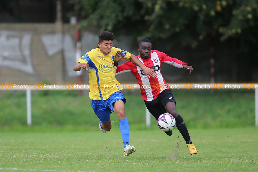 Marley Flute of Norwich and Akin Obamakin of Clapton during Clapton vs Norwich United, Emirates FA Cup Football at the Old Spotted Dog Ground on 19th August 2017