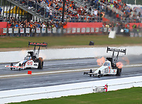 May 6, 2017; Commerce, GA, USA; NHRA top fuel driver Steve Torrence (left) races alongside Antron Brown during qualifying for the Southern Nationals at Atlanta Dragway. Mandatory Credit: Mark J. Rebilas-USA TODAY Sports