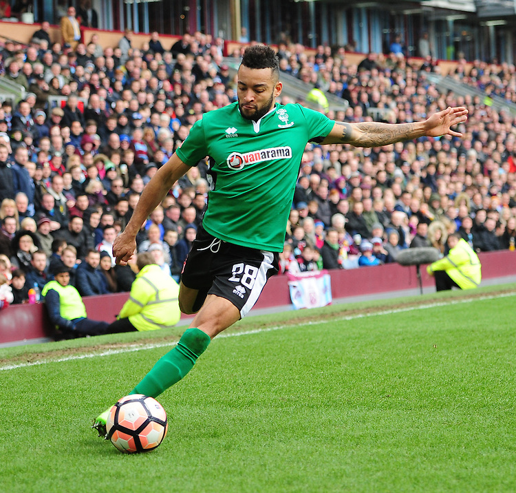 Lincoln City's Nathan Arnold<br /> <br /> Photographer Chris Vaughan/CameraSport<br /> <br /> Emirates FA Cup Fifth Round - Burnley v Lincoln City - Saturday 18th February 2017 - Turf Moor - Burnley <br />  <br /> World Copyright &copy; 2017 CameraSport. All rights reserved. 43 Linden Ave. Countesthorpe. Leicester. England. LE8 5PG - Tel: +44 (0) 116 277 4147 - admin@camerasport.com - www.camerasport.com