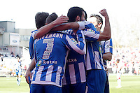 Real Sociedad's players celebrate goal during La Liga match.April 14,2013. (ALTERPHOTOS/Acero)
