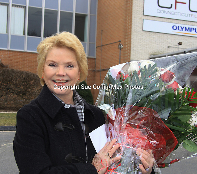 One Life To Live Erika Slezak with flowers from fans - Welcome Back Rally to mark the returns of former ABC soap opera One Life To Live and All My Children. Due to overwhelming fan demand, both long-running dramas are being re-launched by producer Prospect Online Network (TOLN). The rally is in front of the Connecticut Film Center in Stamford, CT where the shows are now being produced on March 18, 2013 to coincide with OLTL's first tape date. (Photo by Sue Coflin/Max Photos)