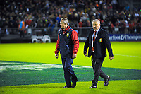Lions coaches Rob Howley (left) and Warren Gatland walk in before the 2017 DHL Lions Series rugby union match between the NZ Provincial Barbarians and British & Irish Lions at Toll Stadium in Whangarei, New Zealand on Saturday, 3 June 2017. Photo: Dave Lintott / lintottphoto.co.nz