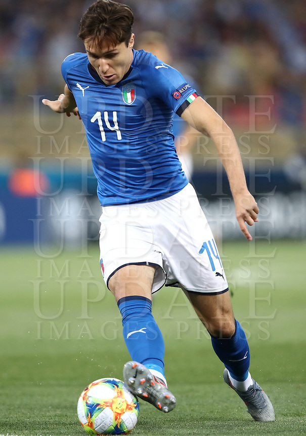 Football: Uefa under 21 Championship 2019, Italy -Poland, Renato Dall'Ara stadium Bologna Italy on June19, 2019.<br /> Italy's Federico Chiesa in action during the Uefa under 21 Championship 2019 football match between Italy and Poland at Renato Dall'Ara stadium in Bologna, Italy on June19, 2019.<br /> UPDATE IMAGES PRESS/Isabella Bonotto