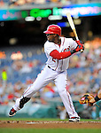 17 May 2012: Washington Nationals outfielder Roger Bernadina in action against the Pittsburgh Pirates at Nationals Park in Washington, DC. The Pirates defeated the Nationals 5-3 in the second game of their 2-game series. Mandatory Credit: Ed Wolfstein Photo