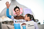Romain Bardet (FRA) AG2R La Mondiale at the team presentation before the start of the 105th edition of Li&egrave;ge-Bastogne-Li&egrave;ge 2019, La Doyenne, running 256km from Liege to Liege, Belgium. 27th April 2019<br /> Picture: ASO/Gautier Demouveaux | Cyclefile<br /> All photos usage must carry mandatory copyright credit (&copy; Cyclefile | ASO/Gautier Demouveaux)