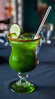 Chayanada, a Special Spinach-Limonade Drink offered by Yaxche, a Mayan Restaurant, Playa del Carmen, Riviera Maya, Yucatan, Mexico.