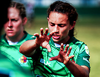 Manawatu's Selica Winiata makes a point to her teammates at halftime. 2017 Bayleys Central Regional Sevens at Playford Park in Levin, New Zealand on Saturday, 9 December 2017. Photo: Dave Lintott / lintottphoto.co.nz