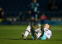 Alfie Lewis of West Ham United U21s shows his disappointment as WHU U23s are dumped out of the tournament during the The Checkatrade Trophy match between Wycombe Wanderers and West Ham United U21 at Adams Park, High Wycombe, England on 4 October 2016. Photo by Andy Rowland.
