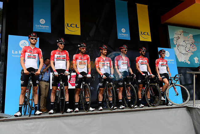 Lotto-Soudal team introduced on stage at sign on before Stage 1 of the 2018 Criterium du Dauphine 2018 running 179km from Valence to Saint-Just-Saint-Rambert, France. 4th June 2018.<br /> Picture: ASO/Alex Broadway | Cyclefile<br /> <br /> <br /> All photos usage must carry mandatory copyright credit (© Cyclefile | ASO/Alex Broadway)