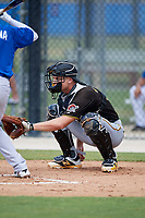 Pittsburgh Pirates catcher Arden Pabst (75) awaits a pitch during a Florida Instructional League game against the Toronto Blue Jays on September 20, 2018 at the Englebert Complex in Dunedin, Florida.  (Mike Janes/Four Seam Images)