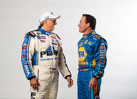 Feb 6, 2019; Pomona, CA, USA; NHRA funny car drivers John Force (left) and Ron Capps talk as they pose for a portrait during NHRA Media Day at the NHRA Museum. Mandatory Credit: Mark J. Rebilas-USA TODAY Sports