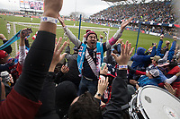 SAN JOSE, CA - Feb 2, 2019:  USA and American Outlaws fans celebrate the USA Men's National Team's first goal against Costa Rica.