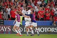 PARIS, FRANCE - JUNE 28: Alex Morgan #13, Allie Long #20, Ali Krieger #11 during a 2019 FIFA Women's World Cup France quarter-final match between France and the United States at Parc des Princes on June 28, 2019 in Paris, France.