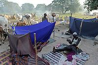 SOUTH SUDAN  Bahr al Ghazal region , Lakes State, village Yeri cattle camp near Rumbek  / SUED-SUDAN  Bahr el Ghazal region , Lakes State, Dorf Yeri, Dinka mit Zeburindern im cattle camp bei Rumbek