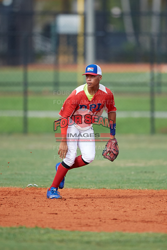 Wilton Lara (2) during the Dominican Prospect League Elite Florida Event at Pompano Beach Baseball Park on October 15, 2019 in Pompano beach, Florida.  (Mike Janes/Four Seam Images)
