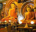 Large Buddha statues at Gangaramaya Temple, Colombo, Sri Lanka,