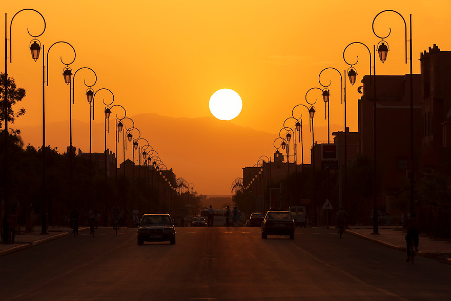 Sunset in the city of Ouarzazate, Morocco.