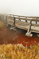 Wooden walkway over Firehole Lake, Firehole Lake Drive, Yellowstone National Park, Wyoming, USA