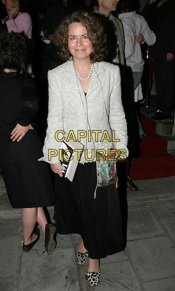 KOO STARK.Royal Academy of Arts - Party.May 19th, 2004.full length, full-length, leopard print, animal print shoes, grey, gray blazer, silk, satin purse, bag.www.capitalpictures.com.sales@capitalpictures.com.© Capital Pictures.