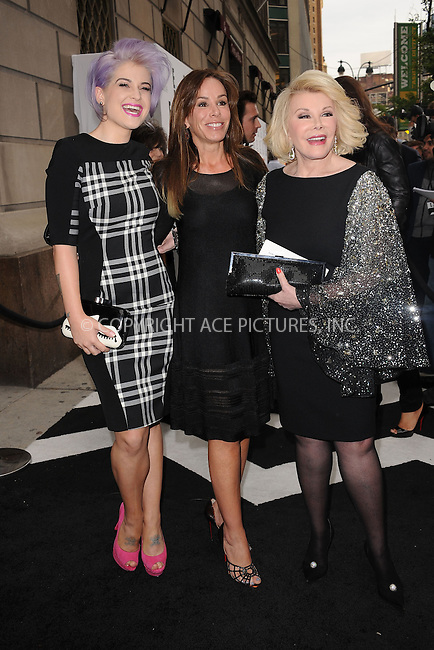 WWW.ACEPIXS.COM . . . . . .April 30, 2012...New York City....Kelly Osbourne, Melissa Rivers and Joan Rivers arriving to attend the E! 2012 Upfront at Gotham Hall on April 30, 2012  in New York City ....Please byline: KRISTIN CALLAHAN - ACEPIXS.COM.. . . . . . ..Ace Pictures, Inc: ..tel: (212) 243 8787 or (646) 769 0430..e-mail: info@acepixs.com..web: http://www.acepixs.com .