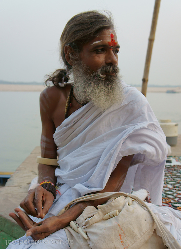 Sadhu at river Ganga, Varanasi