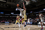 Brandon Childress (0) of the Wake Forest Demon Deacons drives to the basket past Ben Lammers (44) of the Georgia Tech Yellow Jackets during second half action at the LJVM Coliseum on February 14, 2018 in Winston-Salem, North Carolina.  The Demon Deacons defeated the Yellow Jackets 79-62.  (Brian Westerholt/Sports On Film)