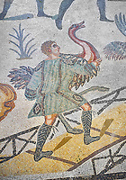 Ambulatory of the Great Hunt Roman mosaic, African birds are loaded onto a ship, room no 28, at the Villa Romana del Casale, first quarter of the 4th century AD. Sicily, Italy. A UNESCO World Heritage Site.<br /> <br /> The Great Hunt ambulatory is around 60 meters long (200 Roman feet) and connects the master's northern apartments with the triclinium in the south. The door in the centre of the the Great Hunt ambulatory leads to audience hall. <br /> <br /> The Great Hunt Roman mosaic depicts African animals being hunted and put onto ships to be taken to the Colosseum.